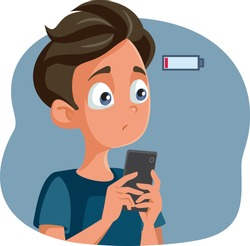 Teen Boy with Low Battery Anxiety Vector Cartoon. Teenager feeling anxious with fear of missing out if Smartphone runs out of electric power