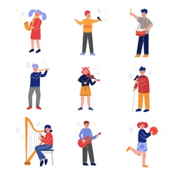 Teen Children Playing Different Musical Instruments and Singing, Talented Boys and Girls Playing Guitar, Violin, Drum, Flute, Saxophone, Harp, Guitar, Tambourine Vector Illustration