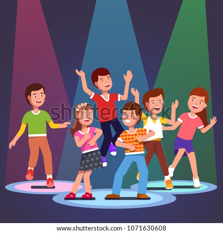 Teen kids boys and girls dancing in light of color spotlights. Partying children jumping and dancing together having fun in the club. Flat style vector character illustration