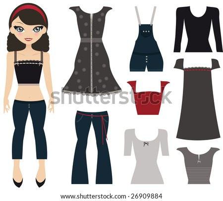 Teen Paper Doll Girl In Jeans, A Tank Top And Headband, Standing With Her Wardrobe