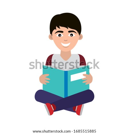 teen with open book sitting