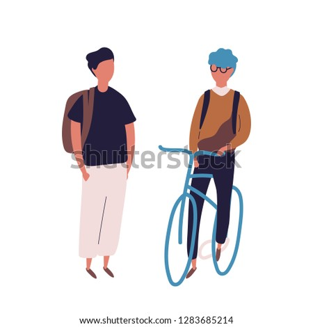 Teenage boy dressed in school uniform meeting his friend on bicycle or bike. Pair of students, pupils, classmates or schoolfellows isolated on white background. Flat cartoon vector illustration.
