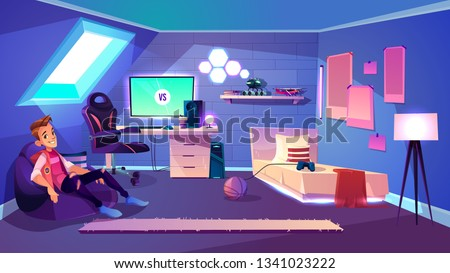 Teenage boy sitting in comfortable bag armchair in his cozy room on house attic cartoon vector. Computer games fan, esports enthusiast or streamer, pro gamer or blogger resting at home illustration