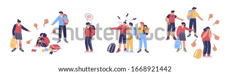Teenage bullying. Group of negative people suppress the poor. The concept of discrimination and intimidation of the weak and victims of violence.  Suppression and harassment in the school environment