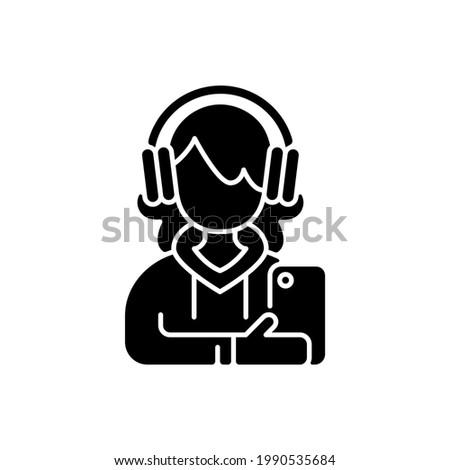 teenage girl black glyph icon