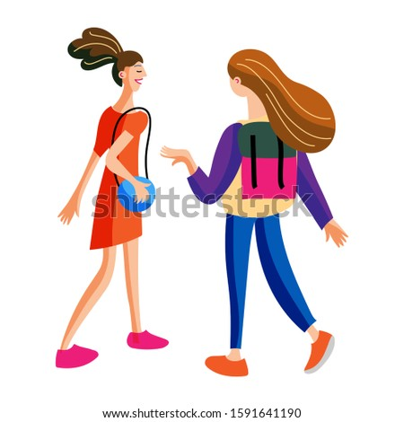 Teenage girl friends having nice conversation back view. Girlfriends going together and speaking. Cartoon female characters isolated on white. Schoolfellow, students chatting. Vector flat illustration