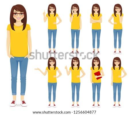 teenage girl in glasses set