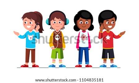 Teenage girls & boys children standing & using mobile phones making calls. Schoolgirls and schoolboys teens cartoon characters set. Boy listening to music using headphones. Flat vector illustration