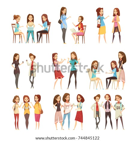 Teenage girls groups talking and communicating with electronic smartphone devices retro cartoon icons collection isolated vector illustration