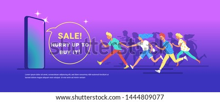 Teenage people running forward concept vector illustration of happy teenagers hurrying to buy a new smartphone. Happy consumers making haste forward to reach shopping sale on gradient background