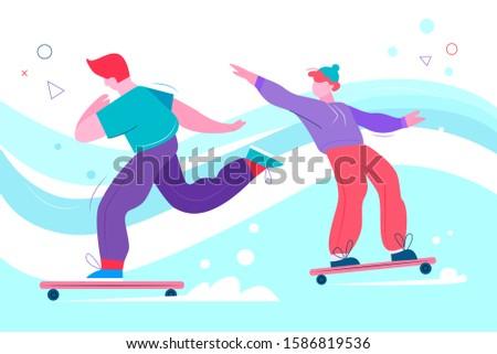 teenage skateboarders flat