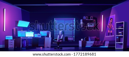Teenager boy bedroom night interior, gamer, programmer, hacker or trader room with multiple computer monitors at work desk, unmade bed, 3d printer on shelf, placard on wall cartoon vector illustration