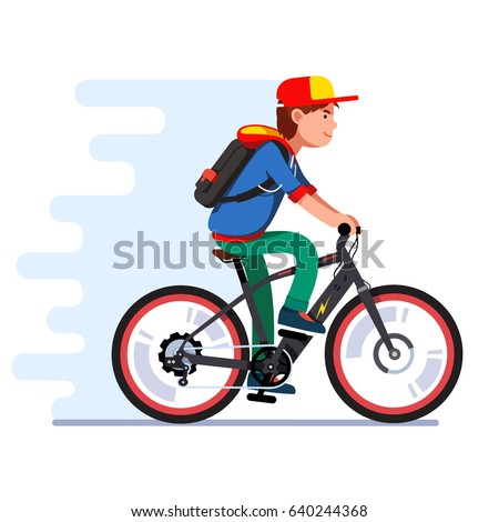 Teenager boy riding fast modern electric bicycle. Kid wearing backpack, hoodie and baseball cap enjoying futuristic bike ride. Flat style vector illustration isolated on white background.