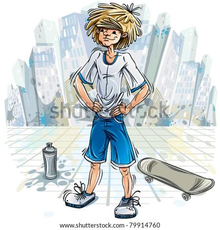 ... skateboard over urban background. Vector illustration. - stock vector