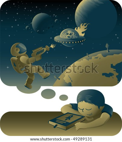 teenager dreaming about space