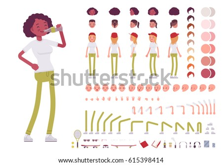 Teenager girl character creation set. Full length, different views, emotions, gestures, isolated against white background. Build your own design. Cartoon flat-style infographic illustration