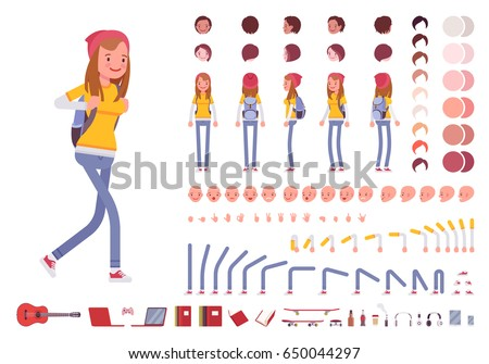 Teenager girl with backpack. Character creation set. Full length, different views, emotions, gestures, isolated against white background. Build your own design. Cartoon flat-style vector illustration