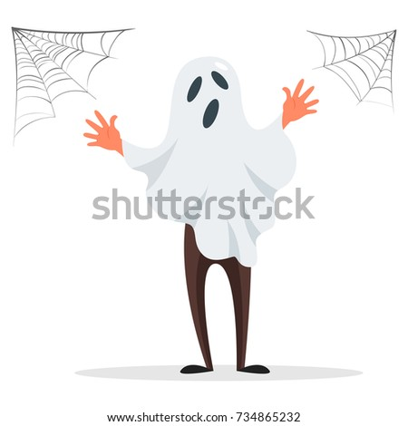 Teenager male dressed in costume of spooky ghost celebrating at Halloween party isolated on a white background