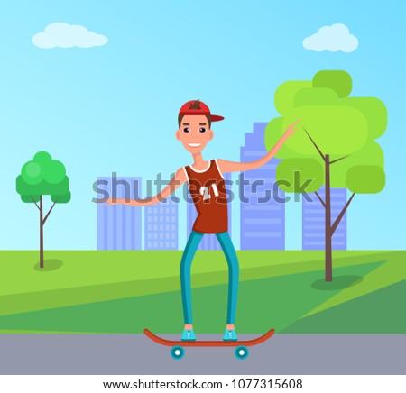 teenager skateboarding vector