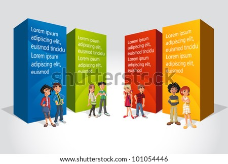 Teenager students in front of colorful boxes