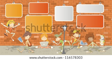 Teenager students in front of orange brick wall
