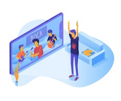 Teenager watching live concert vector illustration. Guy cartoon character listening to rock music on smartphone. Smart TV at home. Music video on screen isometric drawing. Broadcasting, video hosting