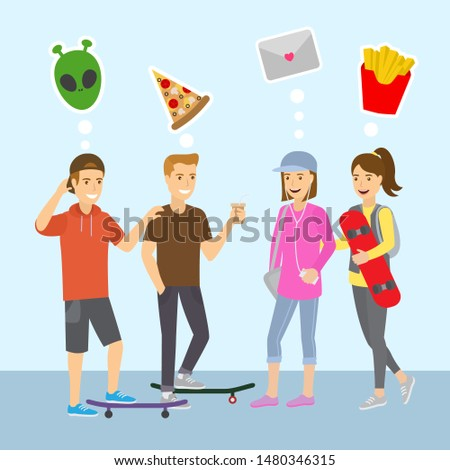 Teenagers boys and girls think and dreams flat vector illustration. Teens thoughts of computer game, pitzza, love letter and fast food. Thinking teenager recreation.