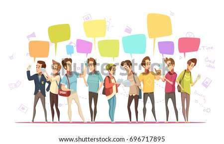 Teenagers boys characters communication online retro cartoon  poster with music symbols and chat messages bubbles vector illustration