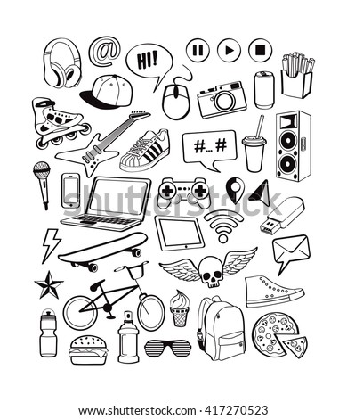 teenagers having fun set icons
