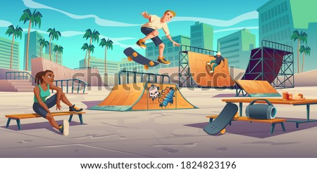 Teenagers in skate park, rollerdrome perform skateboard jumping stunts on quarter and half pipe ramps. Extreme sport, graffiti, youth urban culture and teen street activity Cartoon vector illustration