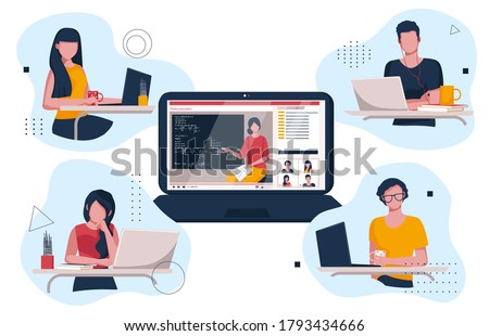 Teenagers watching videos on their laptops. Online training.  Students are watching the lesson online. Vector illustration of home teaching. Foto stock ©