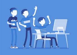 Teens fun at computer. Group of friends watching at PC screen in amusement, enjoyment, laughing at video streaming, chat, gaming, music or social network. Vector illustration with faceless characters