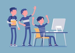 Teens fun at computer. Group of friends watching at PC screen in amusement, enjoyment, laughing at video streaming, chat, gaming, music or social network. Vector illustration, faceless characters