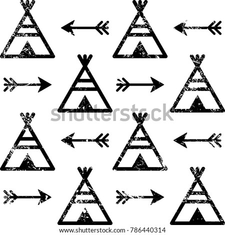 Teepee and arrows seamless vector pattern, Aztec style Indian repetitive design, Native American wallpaper.  Apache tribal scratched background in black and white, grunge style