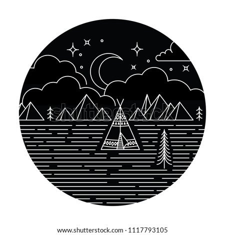 Teepee Monoline Design Rustic monoline design background. Teepee, trees and mountains at night under moon, stars and clouds.