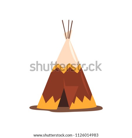 Teepee or wigwam, dwelling of north nations of Canada, Siberia, North America vector Illustration on a white background