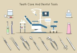 Teeth care and dentist tools. Healthy medicine, medical tooth, dental mirror and toothpaste, toothbrush. Vector illustration