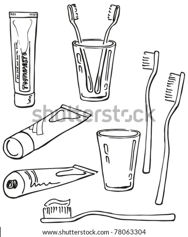 Teeth cleaning set. Instruments for oral hygiene. Hand-drawn illustration converted to vectors.