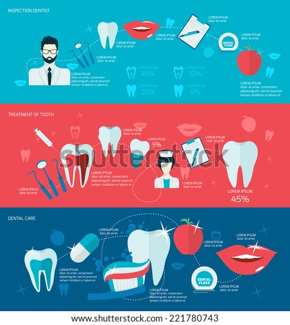 Teeth dental care mouth health banner set with inspection dentist treatment isolated vector illustration