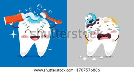 Teeth Health Care Concept With Cartoon Characters Stock foto ©