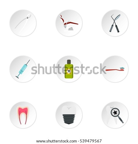 teeth icons set flat