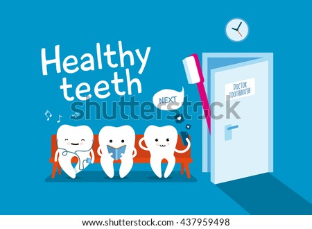 Teeth on couch and toothbrush on blue background. Healthy teeth. Good morning