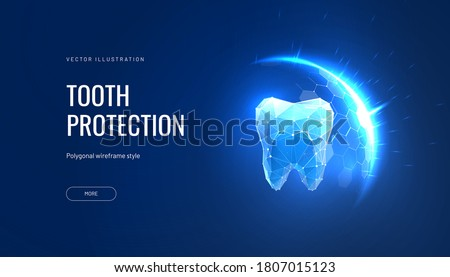 Teeth protection futuristic vector illustration in polygonal style. Shield over tooth concept for dental advertising about safety in technological geometric interpretation