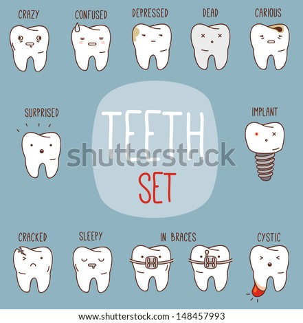 Teeth treatment set Dental collection for your design with different teeth characters Vector cartoons Illustrations for children dentistry