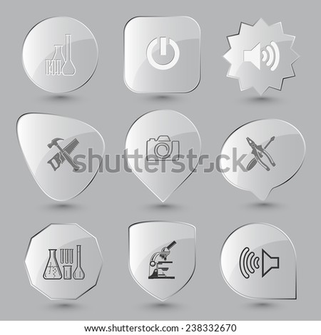 Tehnology set. Vector glass buttons.