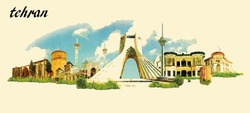 TEHRAN city panoramic vector water color illustration