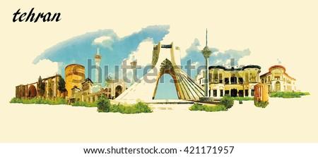 tehran city panoramic vector