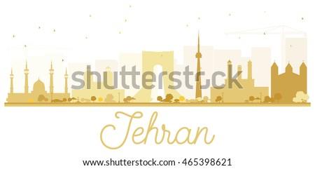 tehran city skyline golden