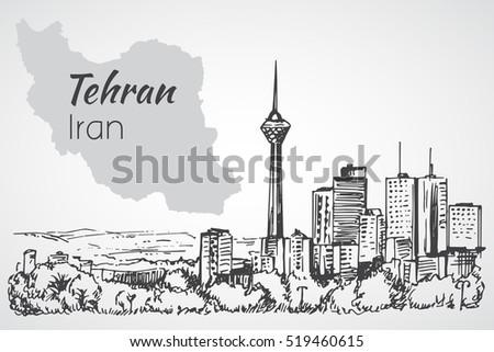 tehran cityscape   iran sketch