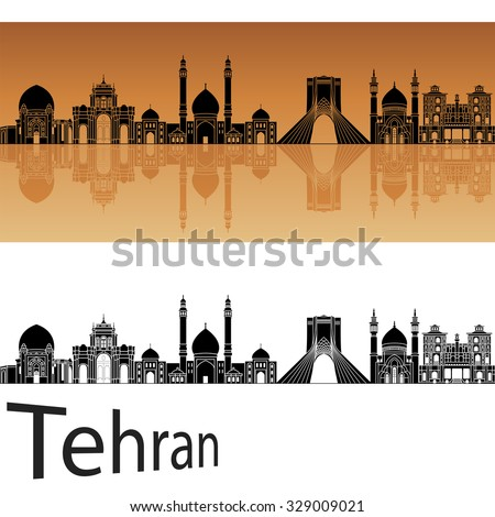 tehran skyline in orange